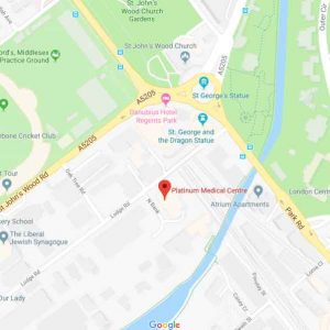 London Endocrinologist - road map of Platinum Medical Centre map